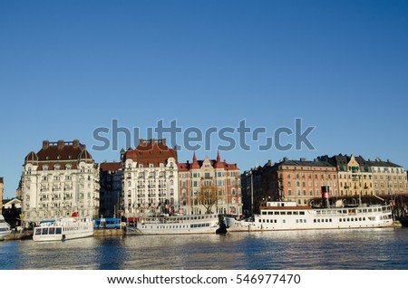 STOCKHOLM, SWEDEN - DECEMBER 14: City view with white boats in Nybroviken in the center of Stockholm in Sweden on December 14, 2016.
