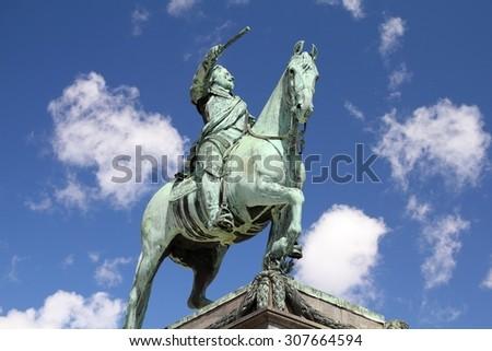 Stockholm, Sweden - equestrian statue of Gustav II Adolf, king of Sweden - stock photo