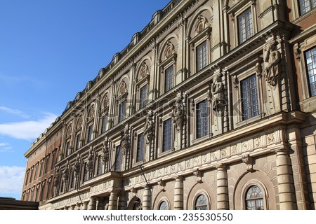 Stockholm, Sweden. Famous Swedish Royal Palace (Stockholms slott) at Gamla Stan (the Old Town), Stadsholmen island. - stock photo