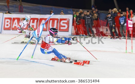 STOCKHOLM, SWEDEN - FEB 23, 2016: Frida Hansdotter (SWE) and competitor skiing at the FIS Alpine Ski World Cup - Men's and Woman's city event February 23, 2016, Stockholm, Sweden - stock photo
