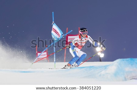 STOCKHOLM, SWEDEN - FEB 23, 2016: Frida Hansdotter (SWE) skiing at the FIS Alpine Ski World Cup - Men's and Woman's city event February 23, 2016, Stockholm, Sweden - stock photo
