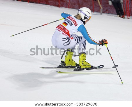 STOCKHOLM, SWEDEN - FEB 23, 2016: Maren Wiesler (GER) skiing at the FIS Alpine Ski World Cup - Men's and Woman's city event February 23, 2016, Stockholm, Sweden - stock photo