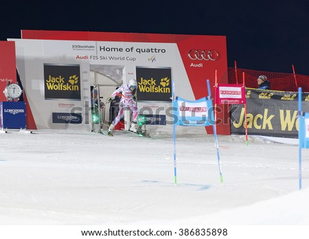 STOCKHOLM, SWEDEN - FEB 23, 2016: Nastasia Noens (FRA) at the start of the FIS Alpine Ski World Cup - Men's and Woman's city event February 23, 2016, Stockholm, Sweden - stock photo