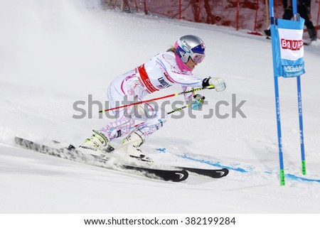 STOCKHOLM, SWEDEN - FEB 23, 2016: Side view of Lindsey Vonn (USA) at the FIS Alpine Ski World Cup - Men's and Woman's city event February 23, 2016, Stockholm, Sweden - stock photo