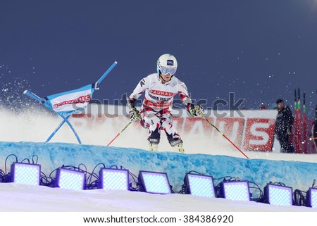 STOCKHOLM, SWEDEN - FEB 23, 2016: Skier Carmen Thalmann (AUT) at the FIS Alpine Ski World Cup - city event February 23, 2016, Stockholm, Sweden - stock photo