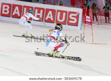 STOCKHOLM, SWEDEN - FEB 23, 2016: Skier Lara Gut (SUI) and competitor at the FIS Alpine Ski World Cup - city event February 23, 2016, Stockholm, Sweden - stock photo