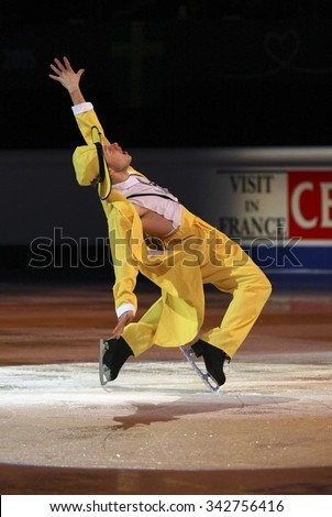 STOCKHOLM, SWEDEN - FEBRUARY 1, 2015: Alexander MAJOROV of Sweden performs during the Exhibition Gala at ISU European Figure Skating Championship in Globen Arena.