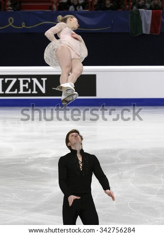STOCKHOLM, SWEDEN -   FEBRUARY 1, 2015: Evgenia TARASOVA / Vladimir MOROZOV of France perform during pair's free skating event at ISU European Figure Skating Championship in Globen Arena. - stock photo
