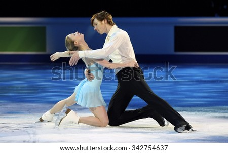STOCKHOLM, SWEDEN - FEBRUARY 1, 2015: Evgenia TARASOVA / Vladimir MOROZOV of Russia perform during the Exhibition Gala at ISU European Figure Skating Championship in Globen Arena.