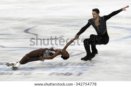 STOCKHOLM, SWEDEN -   FEBRUARY 1, 2015: Vanessa JAMES / Morgan CIPRES of France perform during pair's free skating event at ISU European Figure Skating Championship in Globen Arena. - stock photo
