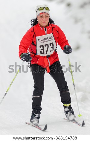 STOCKHOLM, SWEDEN - JAN 24, 2016: Woman at the event Ski Marathon in nordic skiing classic style.