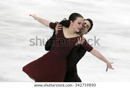 STOCKHOLM, SWEDEN - JANUARY 29, 2015:Anna CAPPELLINI / Luca LANOTTE of Italy perform during ice dance free skating at ISU European Figure Skating Championship in Globen Arena. - stock photo
