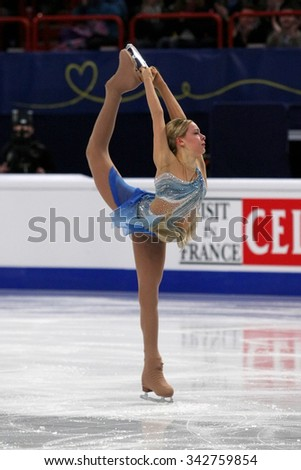 STOCKHOLM, SWEDEN - JANUARY 29, 2015: Anna POGORILAYA of Russia performs short program at ISU European Figure Skating Championship in Globen Arena. - stock photo