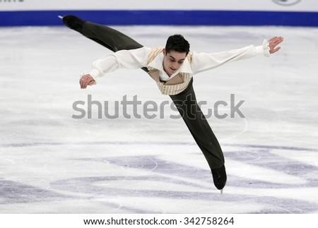 STOCKHOLM, SWEDEN - JANUARY 30, 2015: Javier FERNANDEZ of Spain performs during men's free skating event at ISU European Figure Skating Championship in Globen Arena. - stock photo
