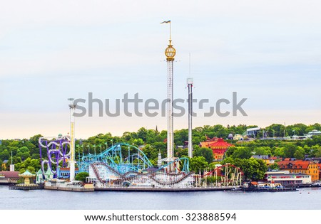 STOCKHOLM, SWEDEN - JULY 05, 2015: Amusement park (Grona lund) in Stockholm, Sweden - stock photo