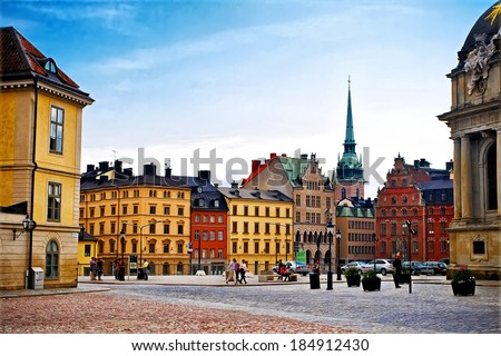 STOCKHOLM, SWEDEN - JULY 30, 2011: Old Town Gamla Stan in Stockholm, Sweden - stock photo