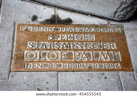 STOCKHOLM, SWEDEN - JULY 11, 2012: Plaque on the spot where the swedish prime minister Olof Palme was murdered on February 28, 1968  at Sveavaegen in Stockholm, Sweden
