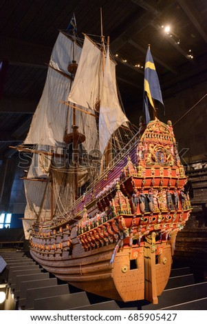 Stockholm, Sweden-July 11, 2017: The infamous Vasa warship that sank on its maiden voyage in the Stockholm harbor