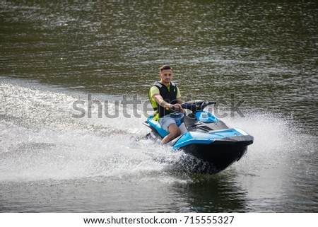 STOCKHOLM SWEDEN 31 July 2017 Young man runs a watercraft