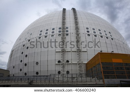 STOCKHOLM, SWEDEN - JUNE 17, 2015: Architectural detail of the Ericsson Globe, the national indoor arena of Sweden