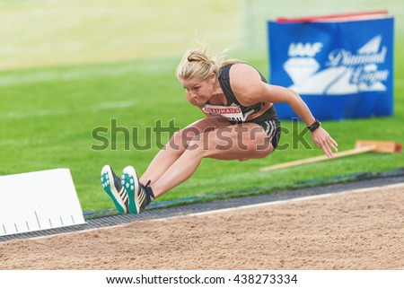 STOCKHOLM, SWEDEN - JUNE 16, 2016: Brooke Stratton in the long jump at the IAAF Diamond League in Stockholm. - stock photo