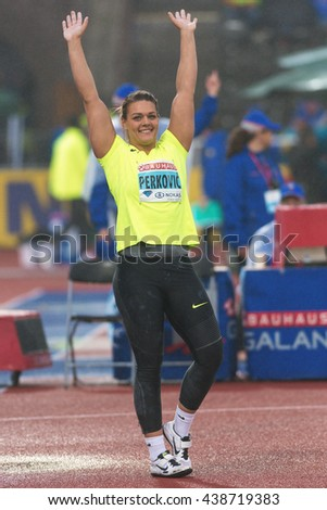 STOCKHOLM, SWEDEN - JUNE 16, 2016: Happy Sandra Perkovic in the women discus throw at the IAAF Diamond League in Stockholm. Winner