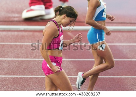 STOCKHOLM, SWEDEN - JUNE 16, 2016: Happy Susanna Kallur after the race at the IAAF Diamond League in Stockholm at 100 meter hurdle.