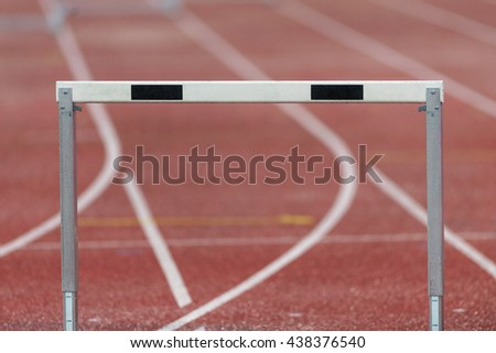 STOCKHOLM, SWEDEN - JUNE 16, 2016: Hurdle at the IAAF Diamond League in Stockholm. - stock photo
