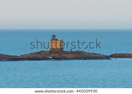 STOCKHOLM, SWEDEN - JUNE 19, 2016: Lighthouse Tjarven in the Baltic sea in evening light.. - stock photo