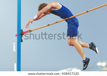 STOCKHOLM, SWEDEN - JUNE 16, 2016: Shawn Barber in the mens pole vault at the IAAF Diamond League in Stockholm.