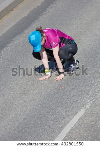 STOCKHOLM SWEDEN 4 JUNE 2016.  Stockholm marathon, a female athlete in the race. 