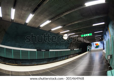 STOCKHOLM, SWEDEN - JUNE 20: Stockholm  subway station is full of sculptures and signs designed in the rainbow colors on June 20, 2015 in Stockholm, Sweden. - stock photo