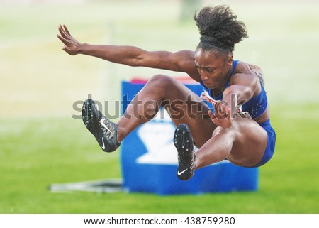 STOCKHOLM, SWEDEN - JUNE 16, 2016: Tianna Bartoletta in the women long jump at the IAAF Diamond League in Stockholm. - stock photo