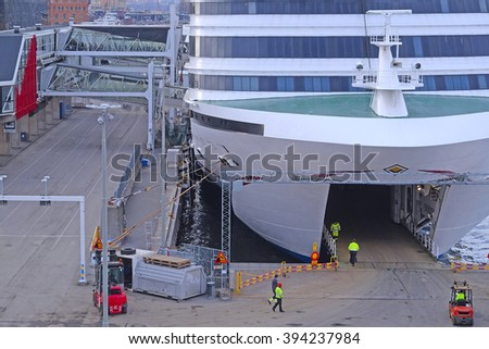 Stockholm, Sweden - March, 19, 2016: cruise fairy ship in Stockholm, Sweden
