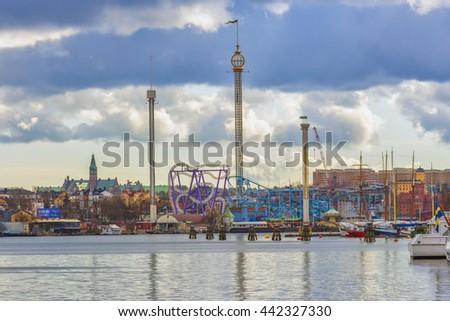 STOCKHOLM, SWEDEN - MARCH 30, 2016: The amusement park Grona Lund in Djurgarden island in Stockholm, Sweden. - stock photo