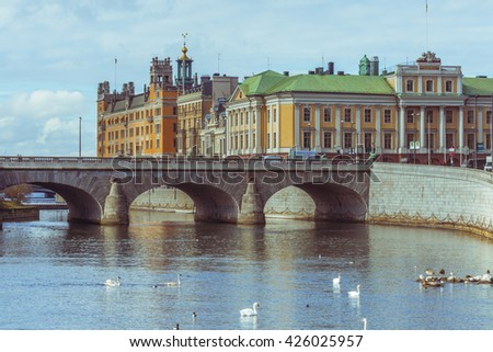 STOCKHOLM, SWEDEN - MARCH 30, 2016: View of the bay in the city center of Stockholm, Sweden with the Arvfurstens Palats, seat of the Ministry for Foreign Affairs