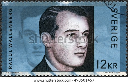 STOCKHOLM, SWEDEN - MAY 10, 2012: A stamp printed in Sweden shows Raoul Gustaf Wallenberg (1912-1945), Swedish architect, businessman, diplomat and humanitarian
