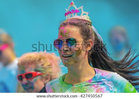 STOCKHOLM, SWEDEN - MAY 22, 2016: Bride at the last blue station at Color Run Tropicolor world tour in Stockholm