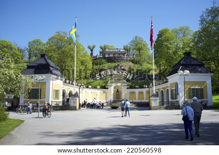 STOCKHOLM, SWEDEN - MAY 17, 2014: Entrance to Skansen. Skansen is the first open-air museum and zoo in Sweden and is located on the island Djurgrden - stock photo