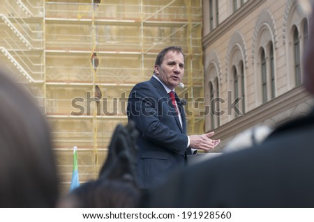 STOCKHOLM, SWEDEN - MAY 1: Party leader Stefan Lofven, Swedish Social Democrats, hold his speech on International Worker´s Day May 1, 2014 on Norra Bantorget, Stockholm.   - stock photo