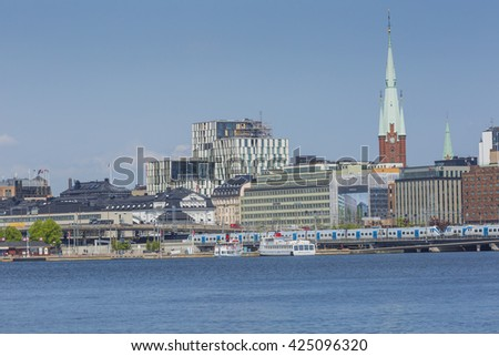 STOCKHOLM - SWEDEN -  21 MAY, 2016.Scenic panorama of the Old Town (Gamla Stan) pier architecture in Stockholm, Sweden