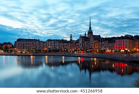 """Stockholm, Sweden -29 May 2016. """"White night"""" panorama of the Old Town. White Nights-astronomical phenomenon consisting  that at  certain time of the year in the night did not sink completely dark. - stock photo"""