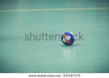 STOCKHOLM, SWEDEN - NOV 4, 2015: Ball on the court at the Handball game between Hammarby vs Lugi at Eriksdalshallen. Allsvenskan Swedish leugue - stock photo