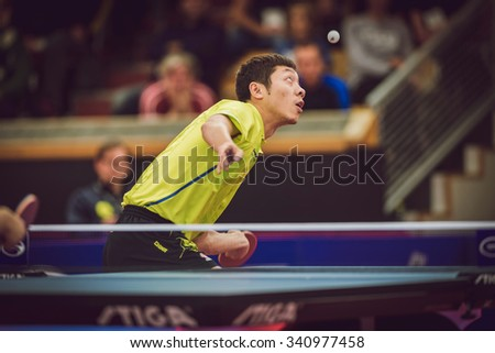 STOCKHOLM, SWEDEN - NOV 15, 2015: Finals between Fan Zhendong (CHI) and Xu Xin (CHI) in table tennis tournament SOC at the arena Eriksdalshallen.