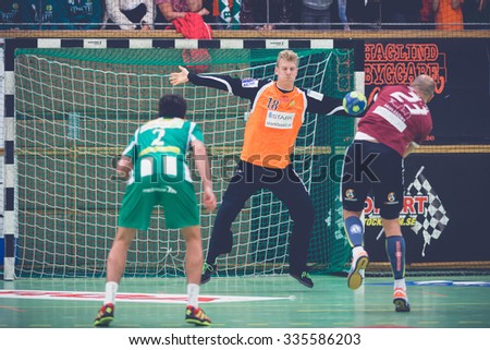 STOCKHOLM, SWEDEN - NOV 4, 2015: Handball game between Hammarby vs Lugi at Eriksdalshallen. Allsvenskan Swedish leugue