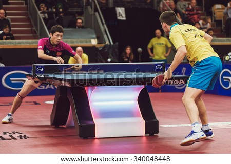 STOCKHOLM, SWEDEN - NOV 15, 2015: Match between Kristian Karlsson and Xu Xin at the table tennis tournament SOC at the arena Eriksdalshallen. - stock photo