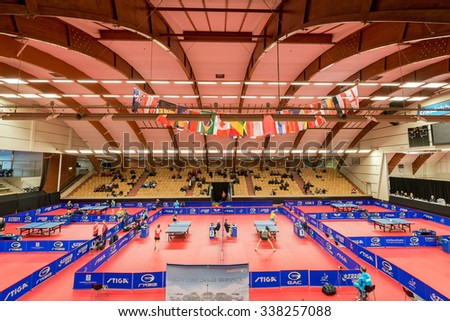 STOCKHOLM, SWEDEN - NOV 11, 2015: Table tennis tournament SOC in the arena Eriksdalshallen. Swedish Open Championships