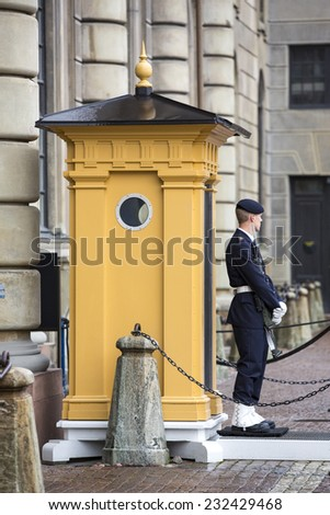 Stockholm, Sweden - November 1: Changing of the guard ceremony near the Royal Palace in Stockholm, Sweden on November 1, 2014.