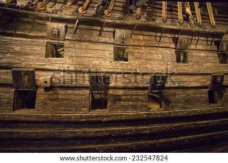 Stockholm, Sweden - November 1: The Vasa Museum in Stockholm, Sweden displays the Vasa, a fully recovered 17th century ship, on November 1, 2014. - stock photo