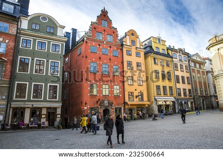 Stockholm, Sweden - November 1: View of the streets of Gamla Stan (old city) in Stockholm, Sweden on November 1, 2014. - stock photo